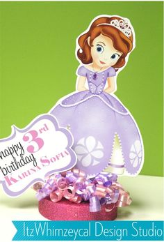 Sofia The First Inspired Centerpiece with Glamour Base. $18.00, via Etsy.