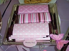 Hershey's bars wrapped in scrapbook paper.. great idea! I'd do kit-kat since they're my favorite candy bar.