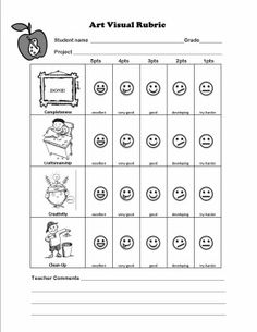 Visual Rubric (designed for middle school art). I really like how this assigns point values to the different smiles, has a space for teacher comments and has pictures to show the targeted behaviors. Maybe for Weekly Coversheets or Behavior Plans?