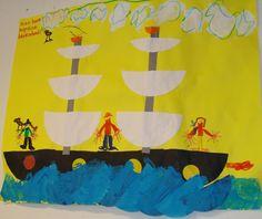 Piraten boot met halve cirkels: van groot naar klein kleven
