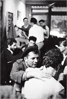 jack kerouac in a beret at 7 arts café in greenwich village, 1959...