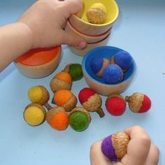 Rainbow Wooden Sorting Bowls with Felted Acorns