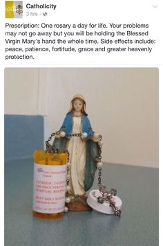 We are prescribing you with rosary beads. Take at least once a day, or whenever you feel it's necessary. Would be a neat way to give a gift. Catholic Religion, Catholic Quotes, Catholic Prayers, Catholic Saints, Praying The Rosary, Holy Rosary, Rosary Prayer, Blessed Mother Mary, Blessed Virgin Mary