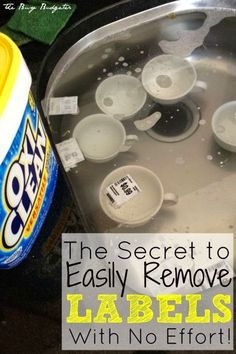 Add 1 scoop of OxiClean to warm water and the labels just float right off and come to the surface of the water. No scrubbing, no residue!