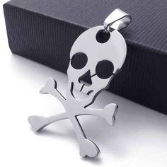 Skull & Crossbones Stainless Steel Pendant Necklace