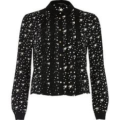 Black star print frill front shirt