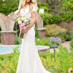 modest wedding dress with short sleeves from alta mode