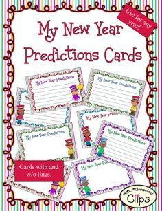 New Year Prediction Cards $ http://www.teacherspayteachers.com/Product/New-Year-Predictions-Cards-1044457