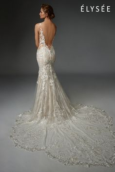 Hand-placed floral lace embroidered with mini paillettes subtly sparkles over french chantilly lace as it gracefully curves organically around the body to complement and flatter the silhouette. Bridal Elegance, Sexy Wedding Dresses, Dress Images, Chantilly Lace, Dream Dress, Floral Lace, Our Wedding, Wedding Bells, New Dress