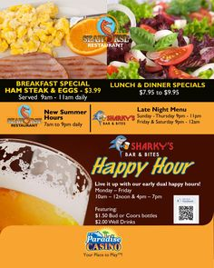 Seahorse Restaurant Special and Sharky's Happy Hour