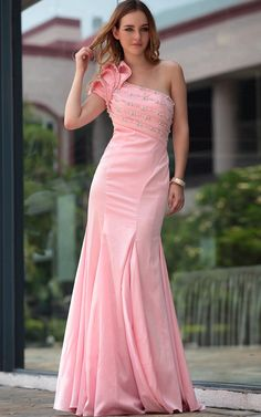 one-shoulder long Peach Mermaid bridesmaid dresses UK - £145.00 : this might be more flattering for m and complements the wisteria she is a peach you know