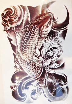 Large Black Koi Fish Temporary Tattoo - Jewelry Jills - 1