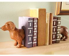 """[A.L.] """"Sausage Dog Bookends 