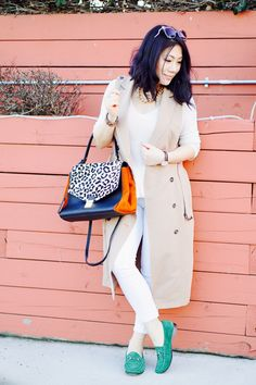 Petite spring 2016 casual outfit fashion street style WHBM trench long vest + Joe's white jeans+ green Gucci flats + leopard print bag