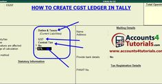 How to Create CGST Ledgers in tally