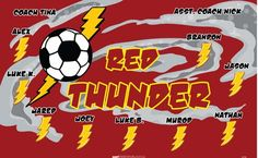 Thunder-Red-40784 digitally printed vinyl soccer sports team banner. Made in the USA and shipped fast by BannersUSA. www.bannersusa.com