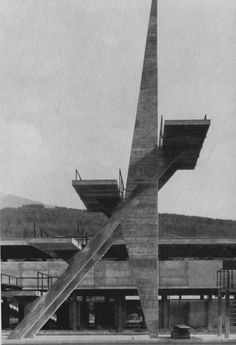 """poetryconcrete: """"Diving board, at swimming pool Tivoli, architecture by N. Heltschl, in Innsbruck, 1964. """""""