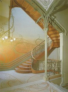 "Staircase of Hotel Tassel; (from ""Victor Horta Hotel Tassel"" by Francois Loyer - Jean Dlhaye, aux Archives D'architecture Moderne, Bruxelles) The one of the best works of Art Nouveau style Architecture Design, Architecture Art Nouveau, Art Nouveau Interior, Art Nouveau Design, Roman Architecture, Bauhaus, Beautiful Buildings, Beautiful Homes, Art Nouveau Arquitectura"