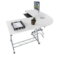Harima - Bixby Professional White Corner Office / Home Computer Desk With Sliding Extendable Keyboard Shelf Workstation Desktop