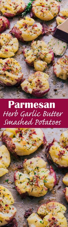 Herb Garlic Butter Smashed Potatoes have all the rich buttery goodness of a traditional mashed potato on the inside, and are perfectly crisp and flavorful on the outside. Side Dish Recipes, Vegetable Recipes, Vegetarian Recipes, Dinner Recipes, Cooking Recipes, Healthy Recipes, Potato Dishes, Vegetable Dishes, Food Dishes