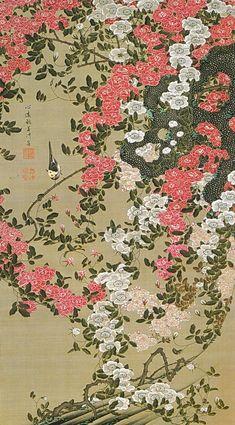 Ito Jakuchu 動植綵絵 Doshoku Sai-e Title:薔薇小禽図 Bara Shokin-zu (Roses and Small Bird)