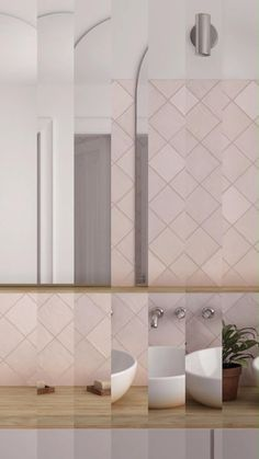 Your bathroom will glow with the handcrafted look of these pink ceramic tiles! Add La Riviera Rose square tiles with a s Bedroom Decor For Couples, Room Decor Bedroom, Modern Bathroom Design, Bathroom Interior Design, Modern Bathroom Vanities, Scandinavian Bathroom Design Ideas, Bad Inspiration, Bathroom Inspiration, Pink Bathroom Tiles