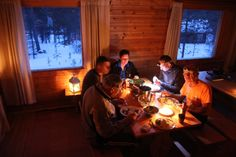 from hut to hut, dinner in in Lapland. Ski Touring, Winter Activities, Wilderness, Cottage, Dinner, Dining, Cottages, Food Dinners, Cabin