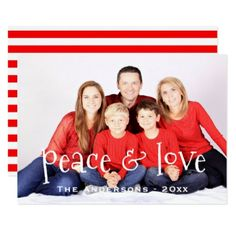 New Year PHOTO Card Holiday Peace Love Red Stripes - Xmas ChristmasEve Christmas Eve Christmas merry xmas family kids gifts holidays Santa