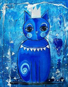 Blue Cat Painting | LORALAI Original Art - Blue Cat King | Flickr - Photo Sharing!