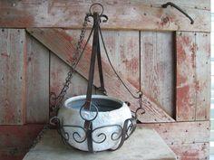 Vintage Rusty Metal Scroll Hanging Flower Basket by ThatFarmGirl