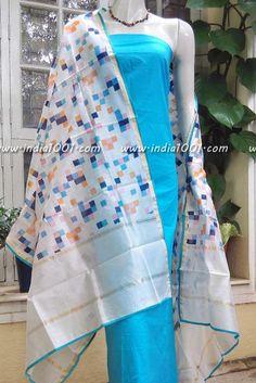 Chanderi Sico dupatta with hand block printed pattern