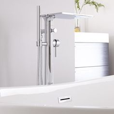 The Hudson Reed freestanding waterfall bath shower mixer tap is a great option for adding luxury style to any bathroom Bath Shower Mixer Taps, Bathroom Taps, Bathroom Inspo, Bathrooms, Freestanding Bath Taps, Hudson Reed, Interior Decorating, Interior Design, Drawer Pulls