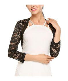 Shop Women s 3 4 Sleeve Lace Shrugs Bolero Cardigan Crochet Sheer Crop  Jacket - Black - 8d7bb73ba