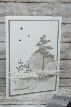 Stampin up - Kraft der Natur Stamp Robber Family Vegetation And Pests Family crops are used so as to Funny Love Cards, Cute Cards, Nature Paper, Best Wishes Card, Paper Anniversary, Anniversary Ideas, Leaf Cards, Thing 1, Stamping Up Cards