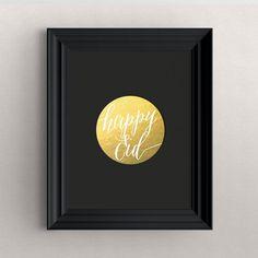 Art Print-' Happy Eid ' gold foil, black