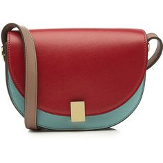 Victoria Beckham Nano Half Moon Box Leather Shoulder Bag (19.049.115 IDR) ❤ liked on Polyvore featuring bags, handbags, shoulder bags, blue, leather handbags, shoulder handbags, blue handbags, red purse and blue leather purse