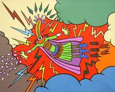 Superdioshéroe / 2008. Acrílico y marcador sobre tela.