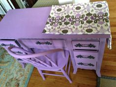 Purple lavender desk vanity painted furniture