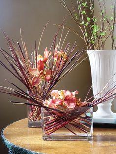 art floral moderne, combination originale de brins et orchidées