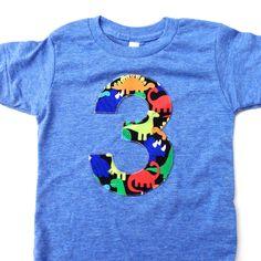 3 three year old 3rd any number blue royal orange green Big Dinosaur number Short Sleeve Birthday Shirt Triblend arhletic blue Hip Birthday by BestBirthdayEver on Etsy https://www.etsy.com/listing/249117905/3-three-year-old-3rd-any-number-blue