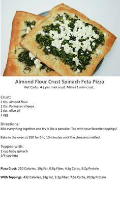 Almond-Flour-Crust-Spinach-Feta-Pizza- sub almond flour for baking blend Ketogenic Recipes, Low Carb Recipes, Vegetarian Recipes, Cooking Recipes, Healthy Recipes, Greek Recipes, Scd Recipes, Banting Recipes, Meal Recipes