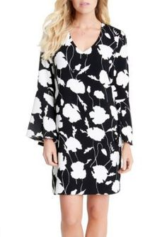 Karen Kane BlackOff White V-Neck Bell Sleeve Dress