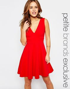 Lipstick Boutique Petite Plunge Front Skater Dress