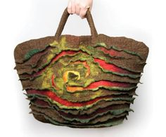 Handtasche - Koszyk filcowy z motywem przestrzennym - ein Designerstück von Justyna-Wrobel-Mikolajczyk bei DaWanda