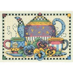 "Teatime Pansies Mini Counted Cross Stitch Kit-7""""X5"""" 14 Count"