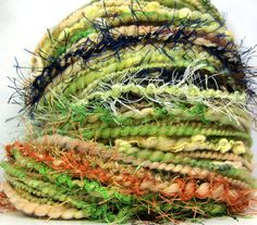 Kitty Grrlz FunctionArt HandSpun Art Yarn - Grasshopper Blue - merino wool, bulky yarn, see all kitty grrlz yarns here: http://www.etsy.com/shop/kittygrrlz