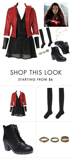 """""""Wanda Maximoff aka Scarlet Witch"""" by mrsbradford ❤ liked on Polyvore featuring Uniqlo, Wet Seal and Forever 21"""