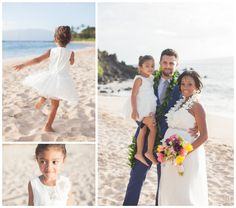 The Bride Groom S Daughter Was Flower Ring Bearer Only Guest At This Hawaii Beach Ceremony By Simple Maui Wedding