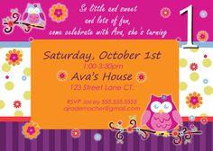 Owl Blossom 1st Birthday Invite Girl