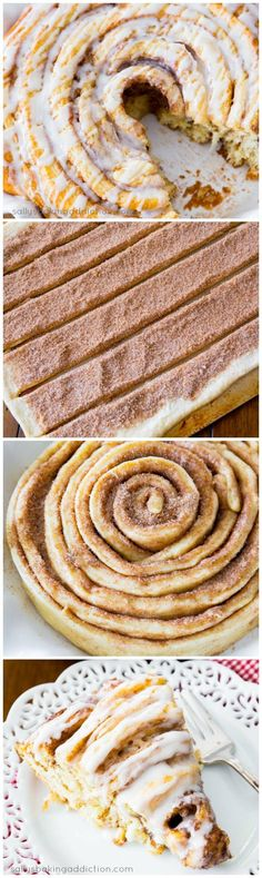 Giant Cinnamon Roll Cake! There's no way not to love this. Step-by-step photos included.